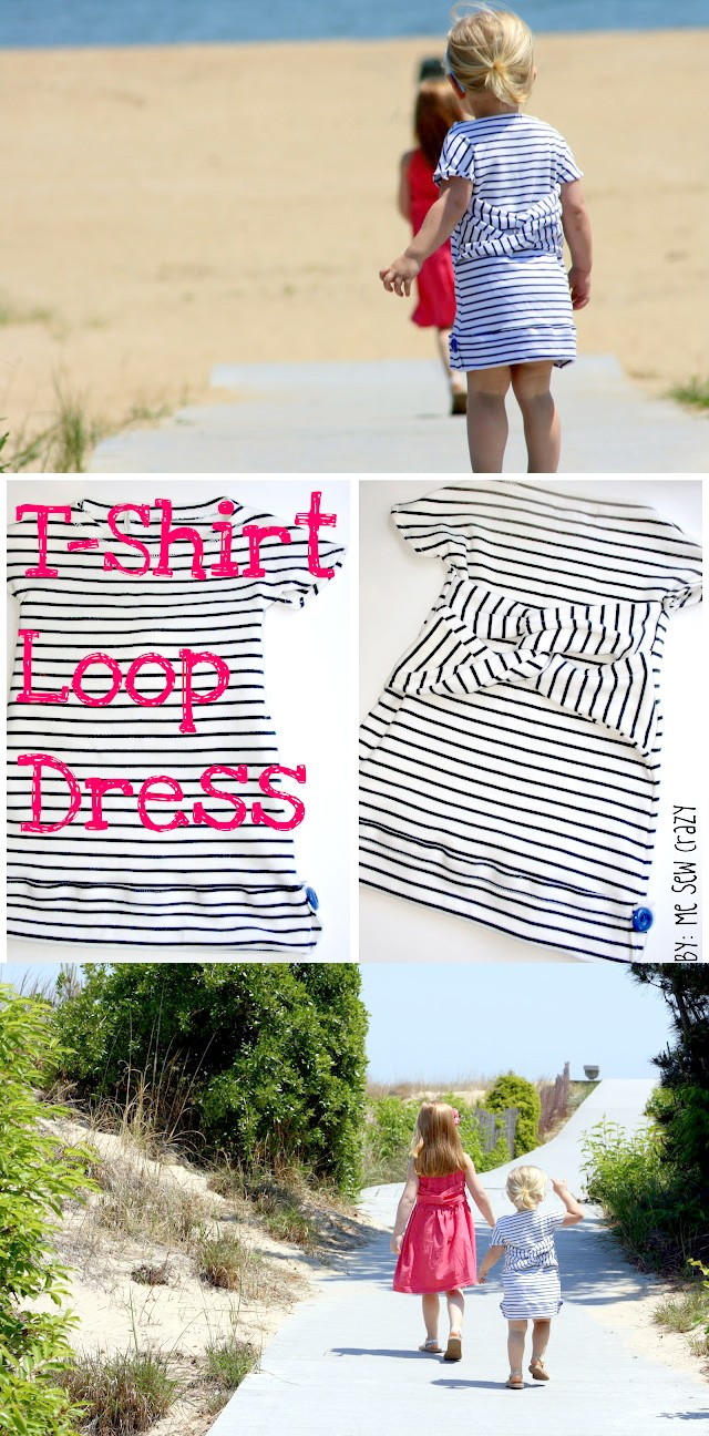 How to sew an easy T Shirt dress with back loop feature