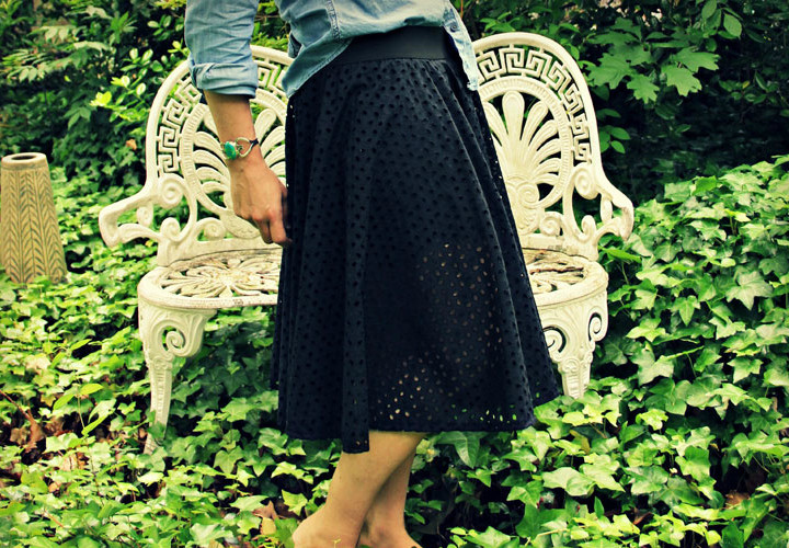 How to Sew an Eyelet Circle Skirt with Built In Leggings