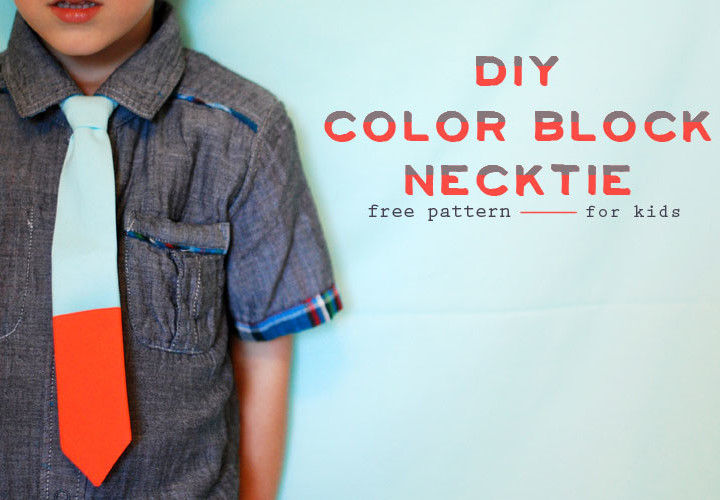 Kids Color-block Necktie DIY {Free Pattern}