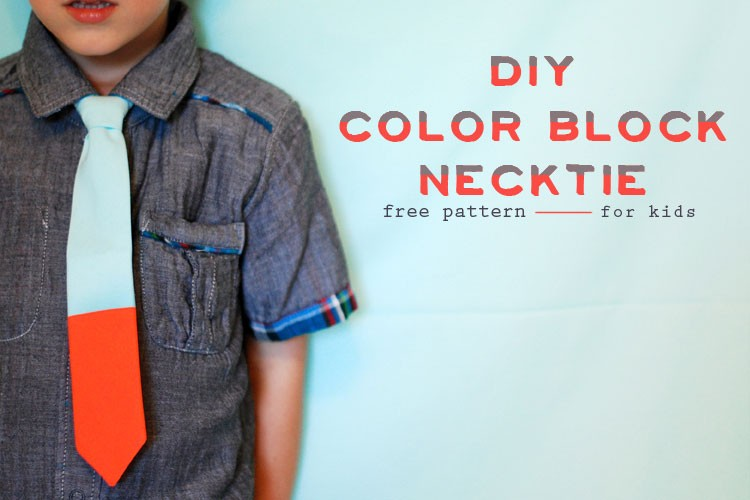 How to Sew a Kids Color-block Necktie - Free Pattern