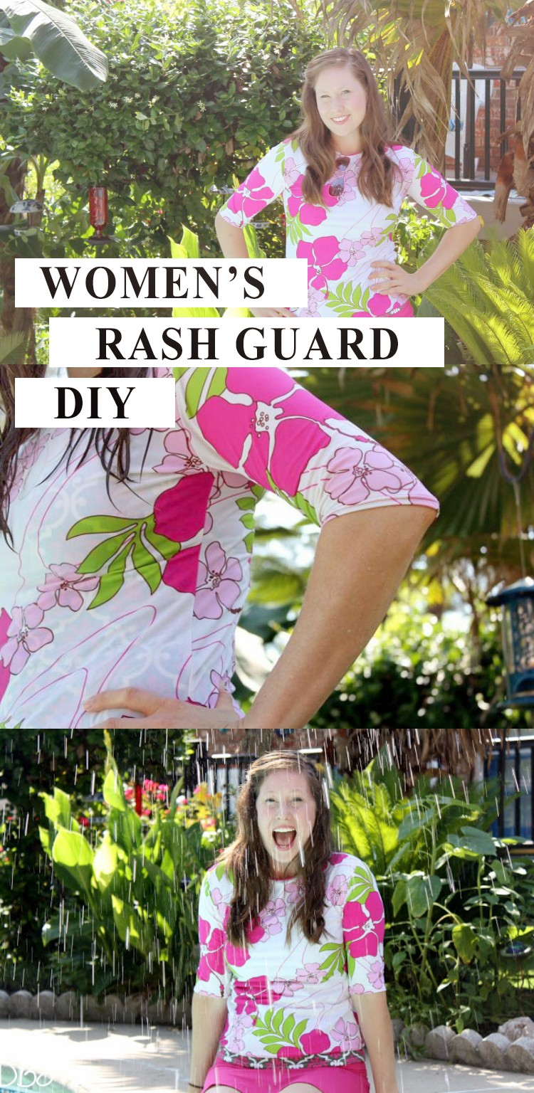 How to sew a women's rash guard - Women's swim shirt rash guard DIY.