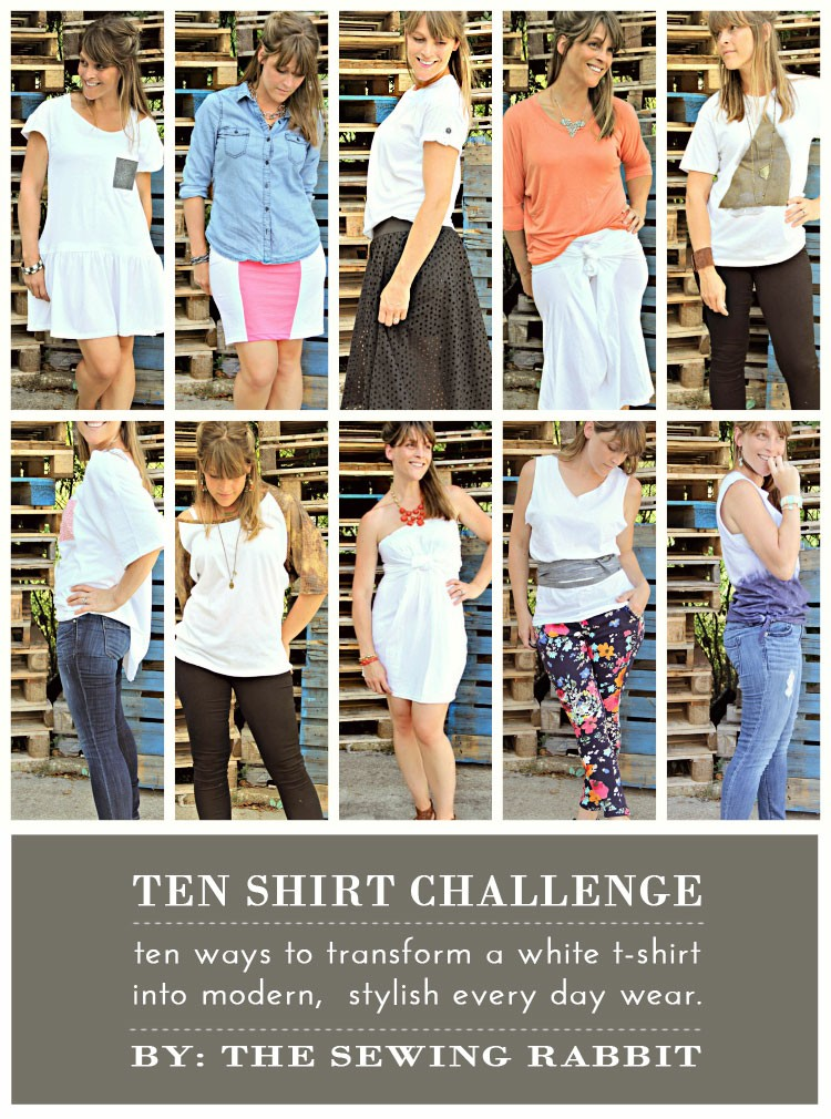 10 Ways to Transform a White Tee - DIY #sewing tutorials - The Ten Shirt Challenge  ||  www.sewingrabbit.com