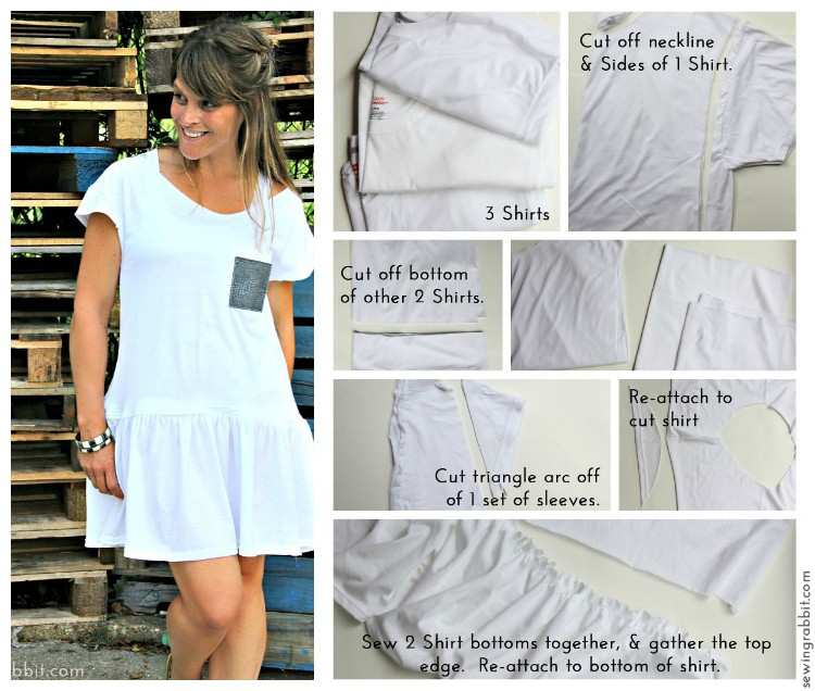 Look No 1 - Ten Shirt Challenge Collage - 10 Ways to Transform a White Tee -  #sewing   ||  www.sewingrabbit.com