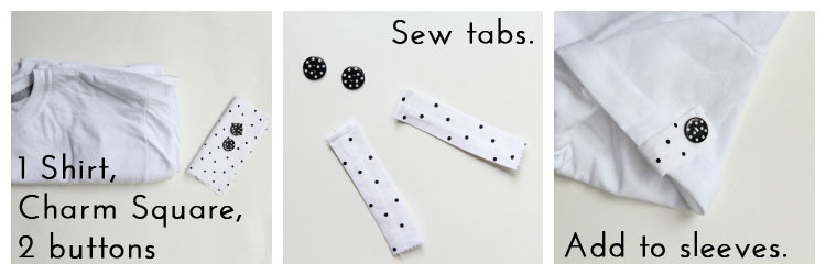 Look No 3 - Add button tabs - 10 Ways to Transform a White Tee -  #sewing   ||  www.sewingrabbit.com