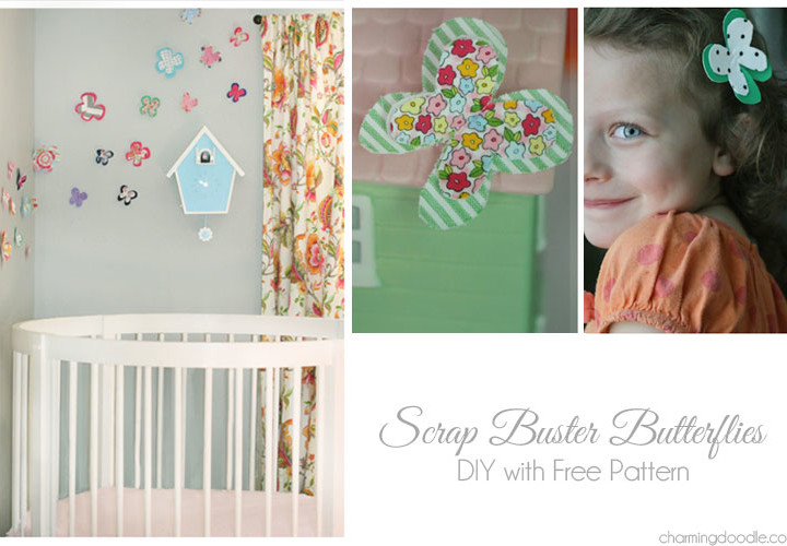 Fabric Scrap Butterfly DIY - Free Pattern