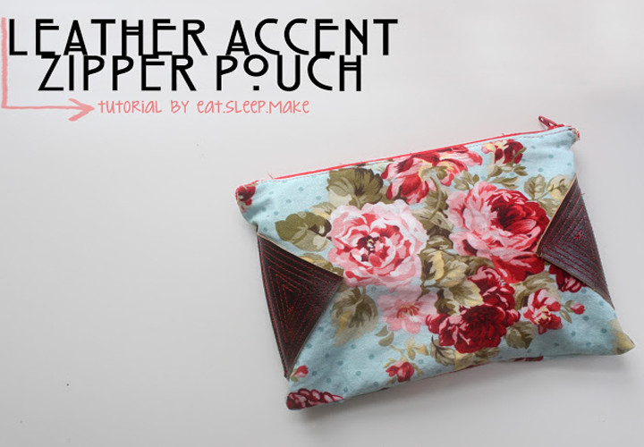 Leather Accent Zipper Pouch DIY