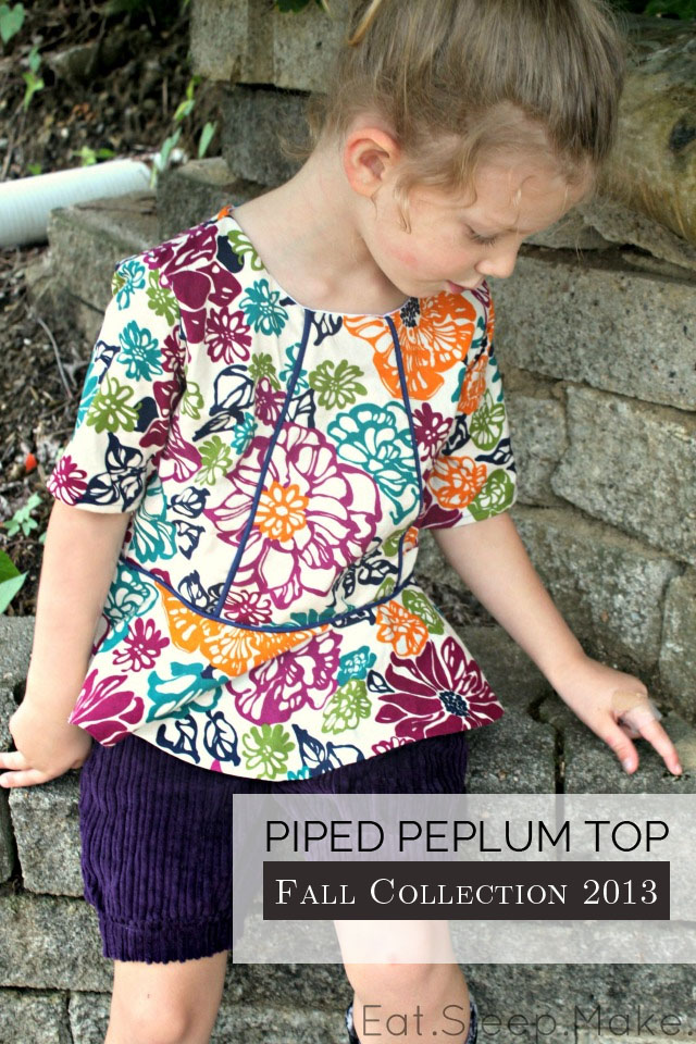 Piped Peplum Top Sewing Pattern  ---   Sewing Rabbit Fall Collection 2013