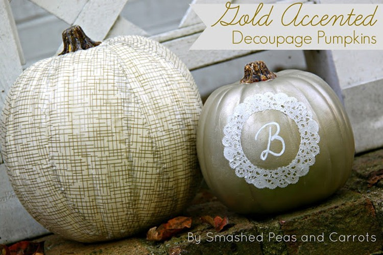 Smashed Peas & Carrots Decoupage Pumpkins