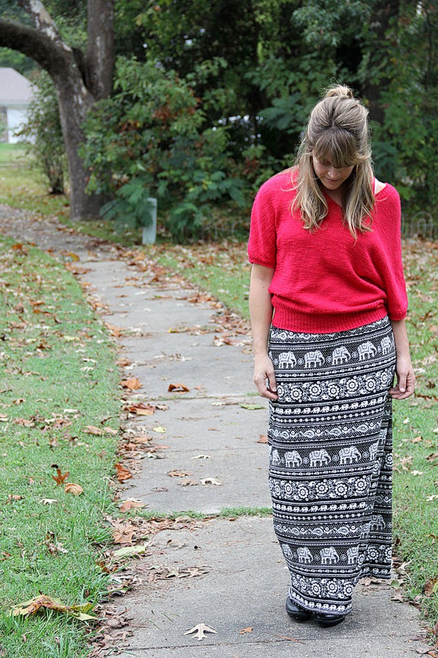 Fall Elephant Maxi Skirt