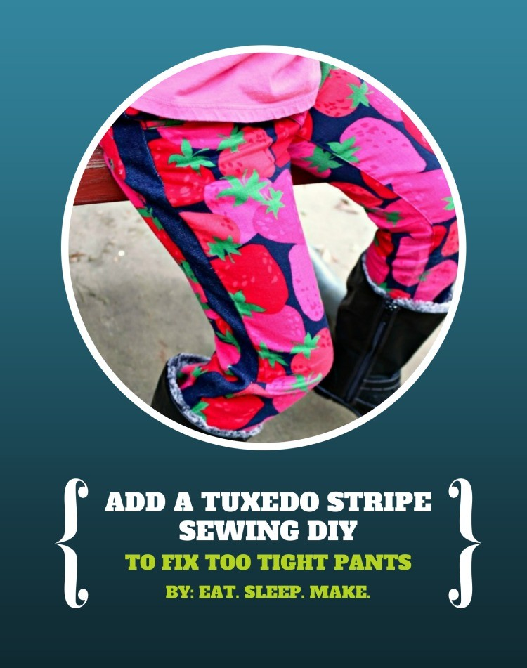 Adding a Tuxedo Stripe to fix too tight pants - sewing DIY