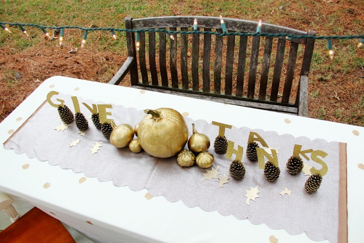Gold & Rustic Thanksgiving Table DIY