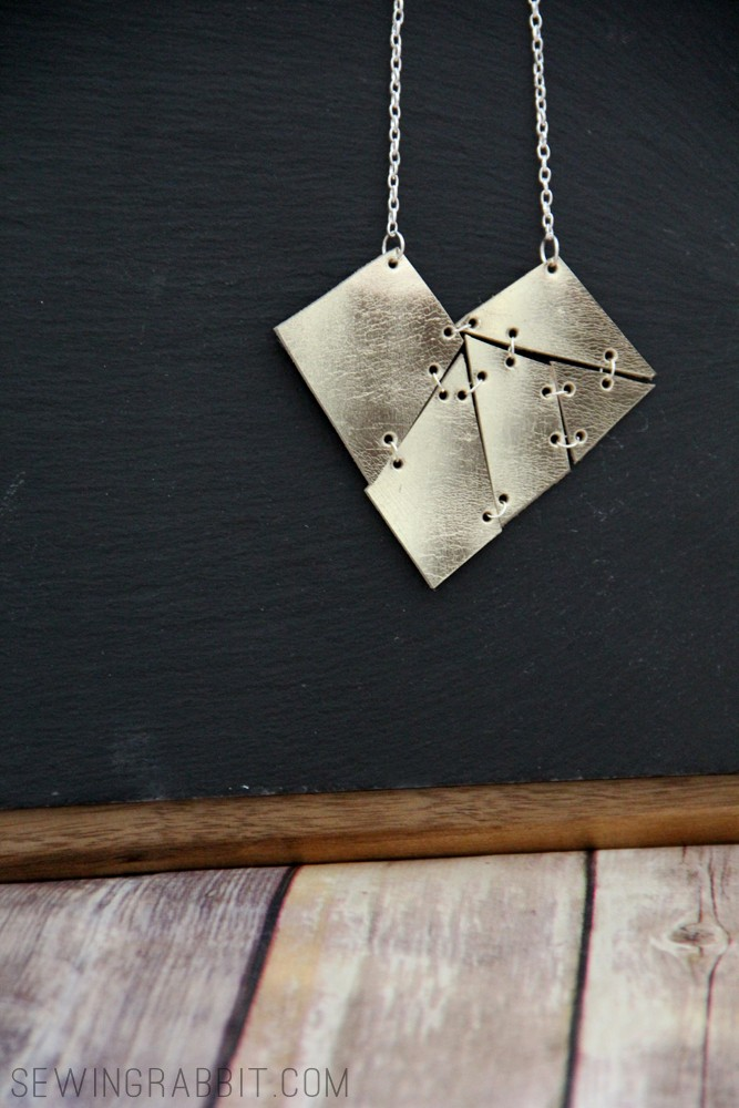Leather Geometric Heart Necklace