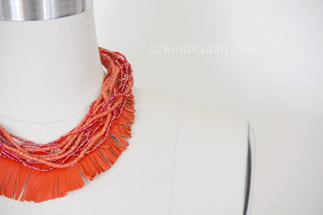 Leather Fringe and Bead Necklace