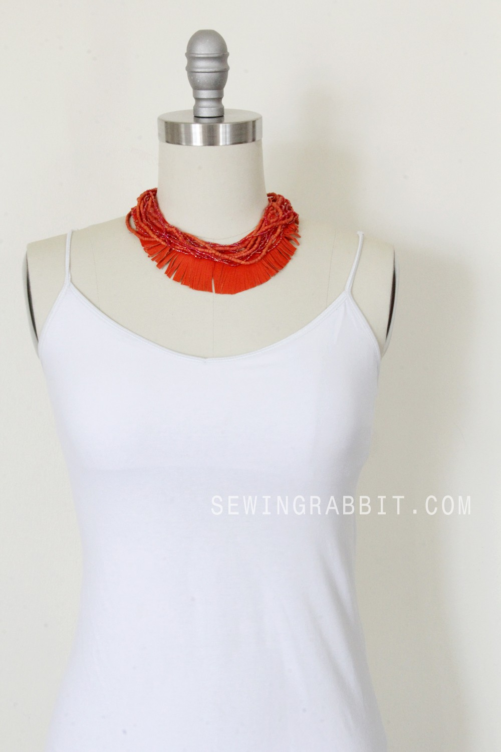 How to make a leather and bead fringe necklace, easy jewelry craft DIY