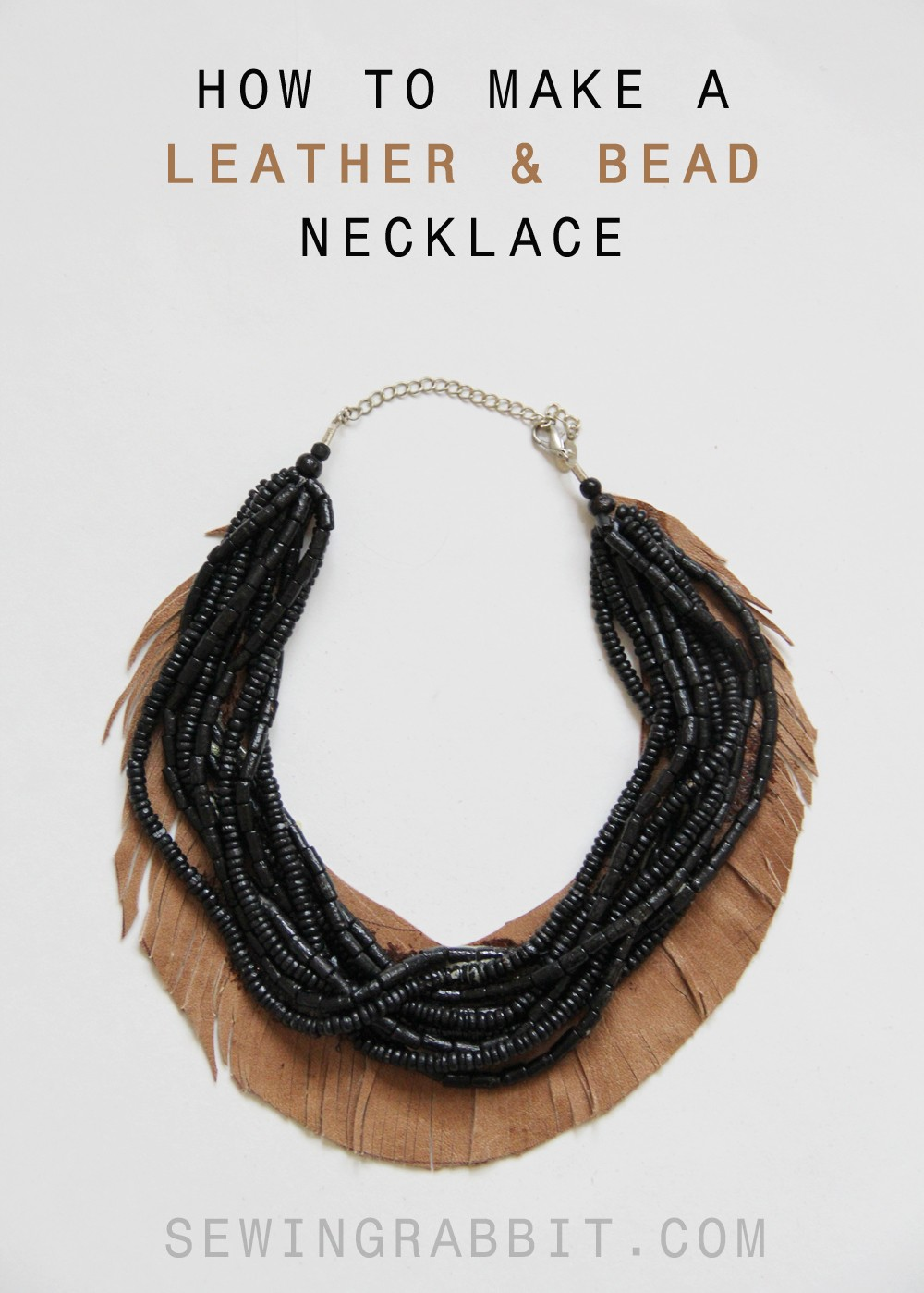 How to Make a Leather & Bead Fringe Necklace - easy Craft DIY