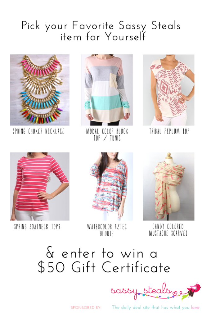 Vote for your favorite Sassy Steals product to enter to win a $50 Gift Card
