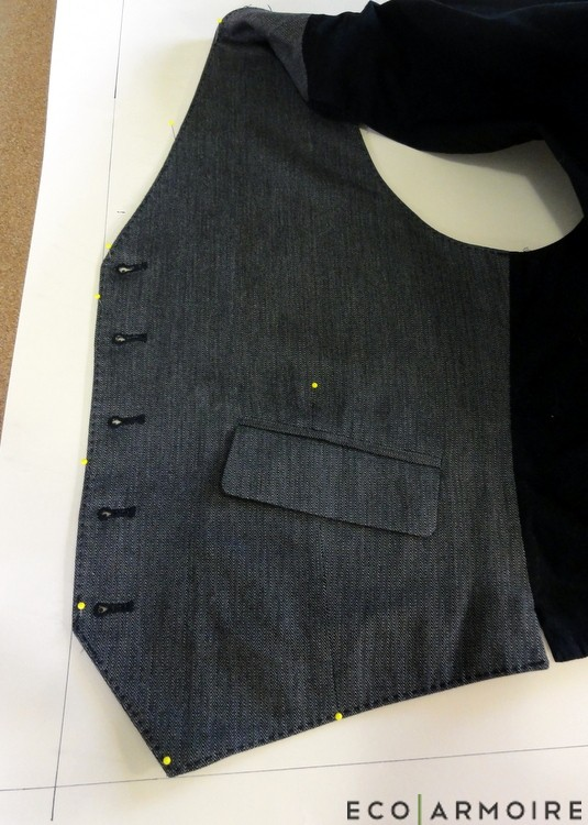 Pin Center Front - Men's Vest Tutorial EcoArmoire