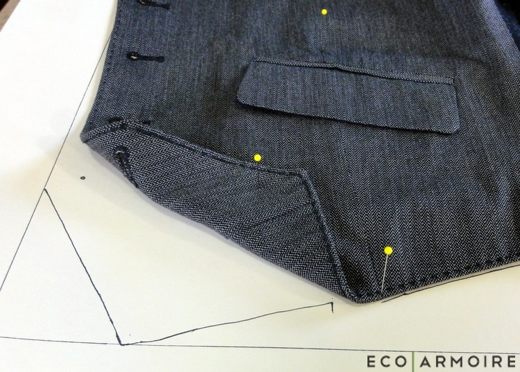 Front Dart - Men's Vest Tutorial EcoArmoire
