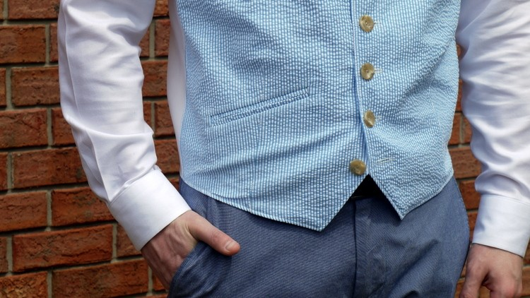 Pocket Detail - Men's Vest Tutorial EcoArmoire