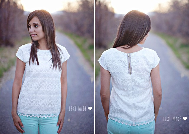 Women's Lace Exposed Zipper Top DIY