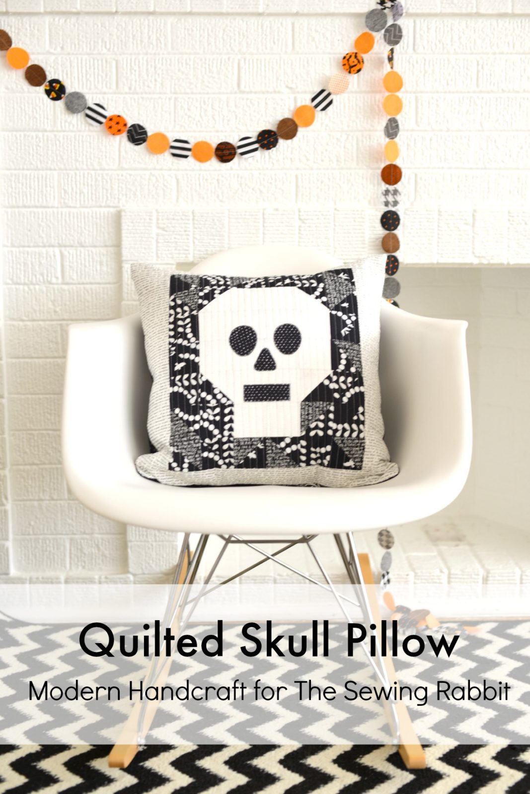 Modern Handcraft for The Sewing Rabbit // Quilted Skull Pillow