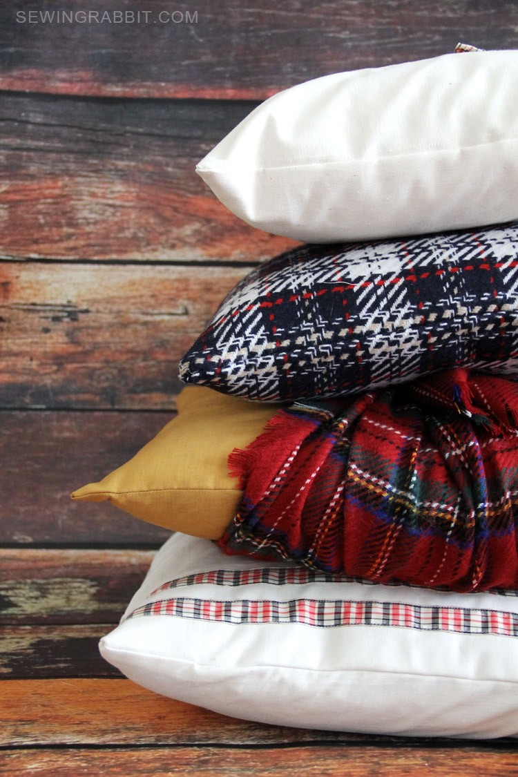 mad for plaid pillow DIYs, with free templates