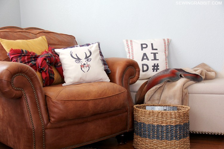 Mad for Plaid - 4 Pillow DIYs with free download templates.