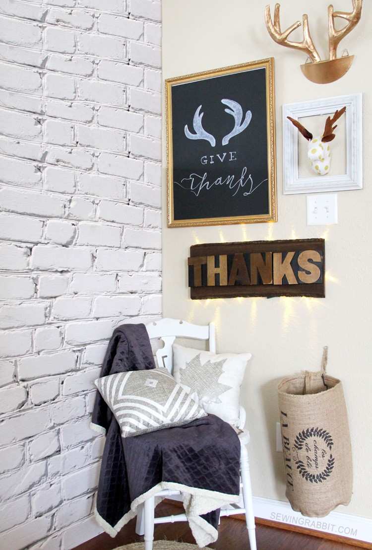 Thankful Corner - all thrifted or DIY projects with tutorial. Decorations that move from Thanksgiving to Christmas
