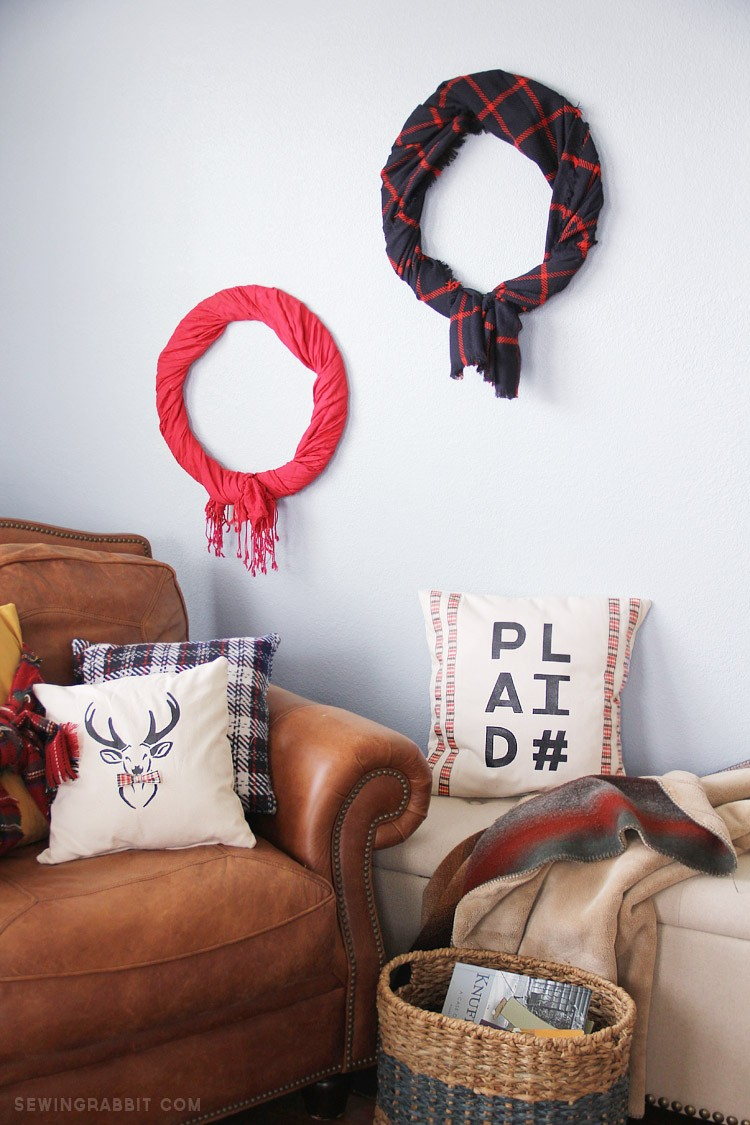 easy scarf wreath DIY,