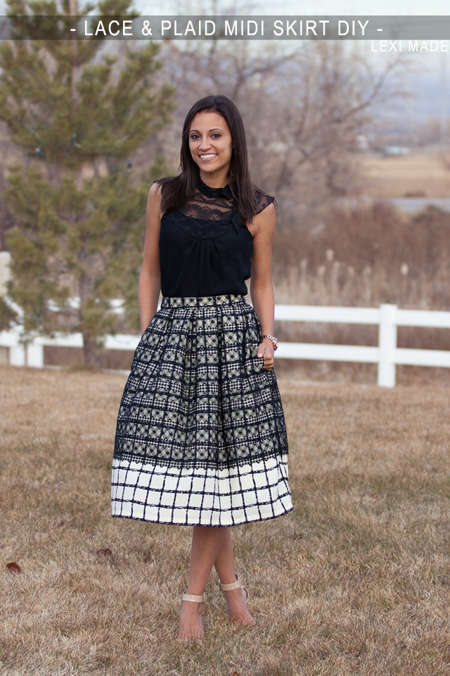 Lace & Plaid Midi Skirt DIY