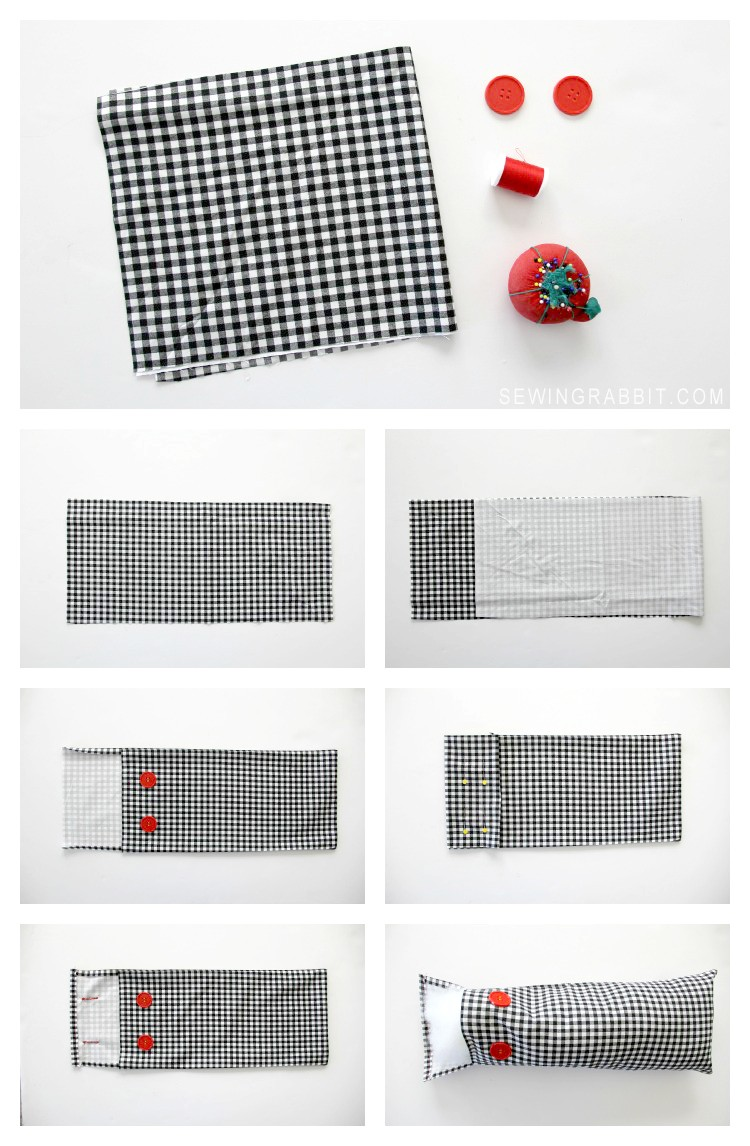 MAKE THIS: Easy Plaid fold over button closure pillow DIY. Perfect for beginner seamstress
