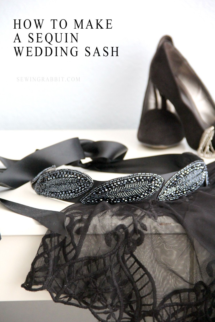 How to make an easy sequin wedding sash, with no-sew option!