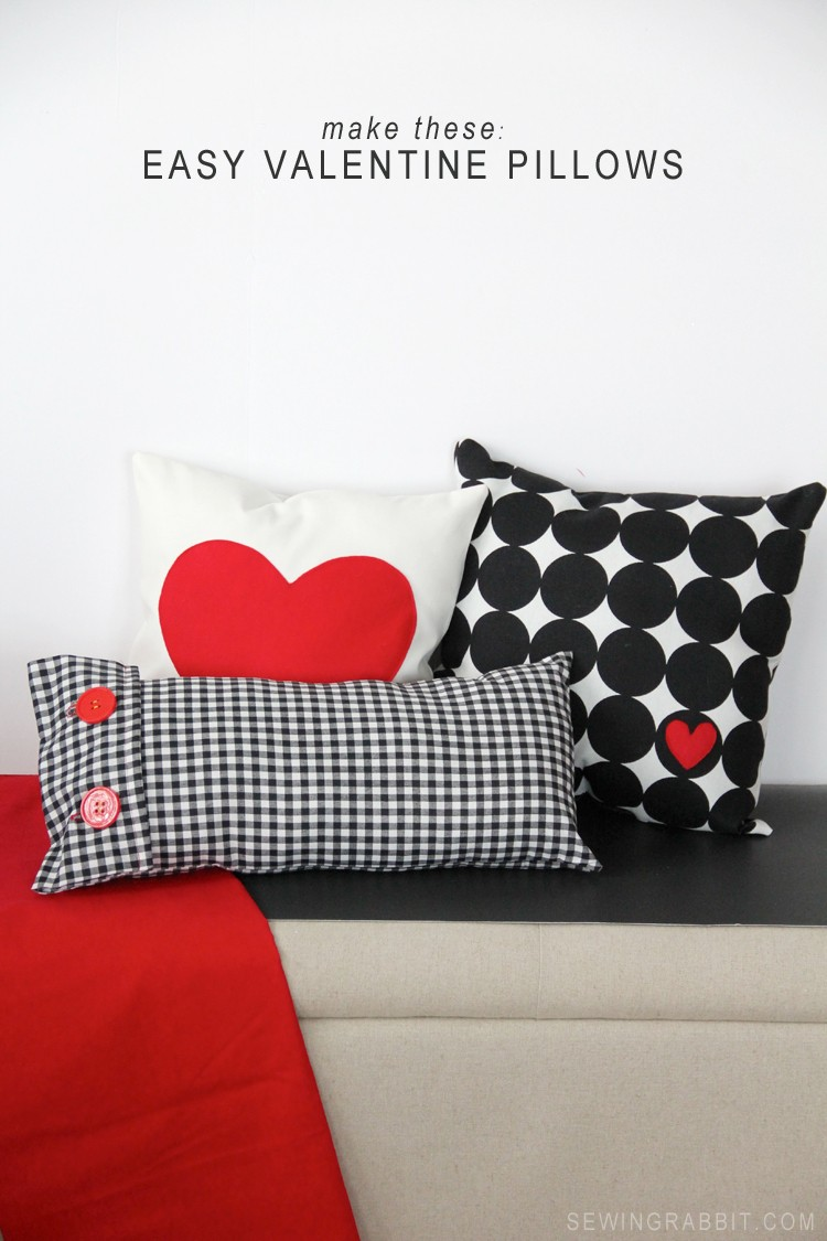 Make These: Easy Valentine Heart + Plaid Pillows . Perfect for a beginner!