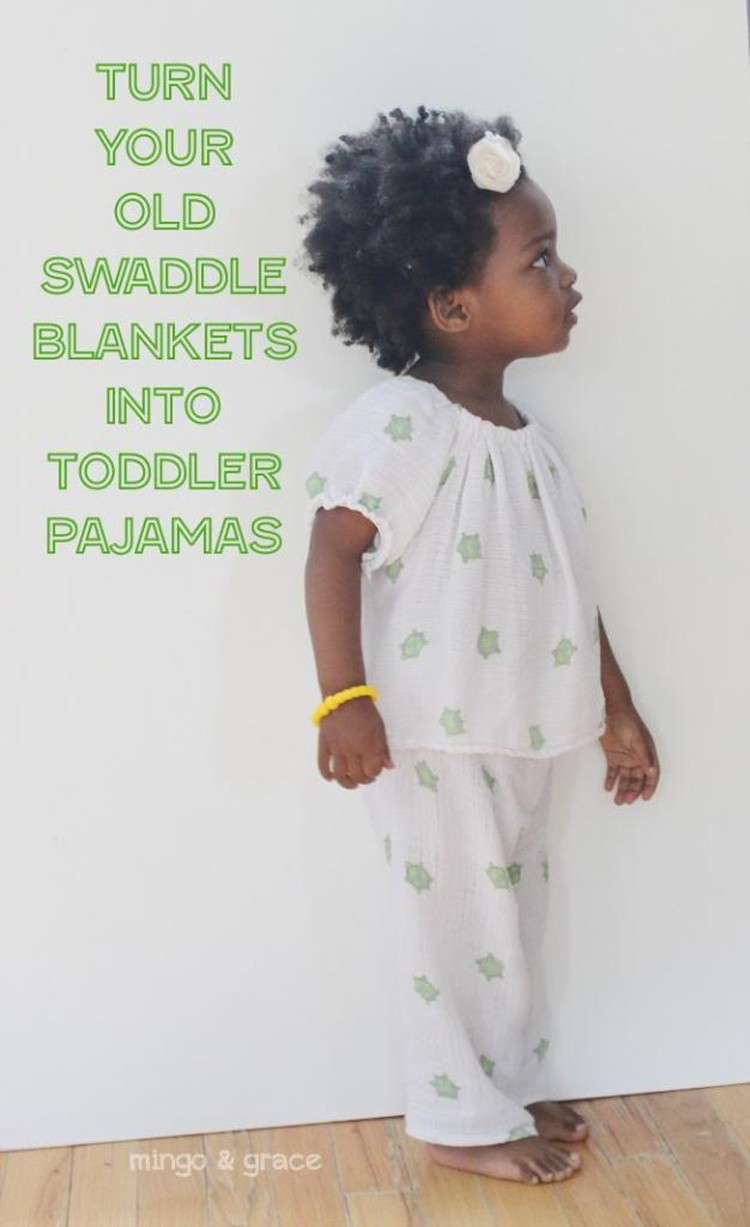 5 Ways to Upcycle Old Baby Blankets - turn those swaddled blankets into pajamas!