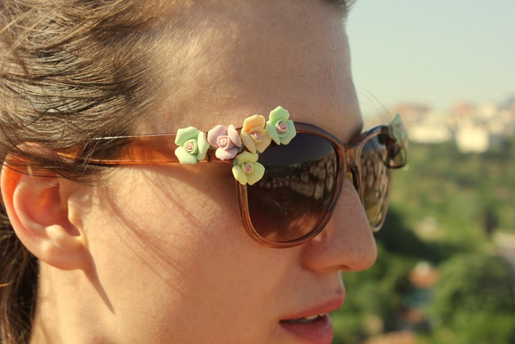 Floral Sunglasses --- 24 DIYs to help you get ready for Summer Vacation.