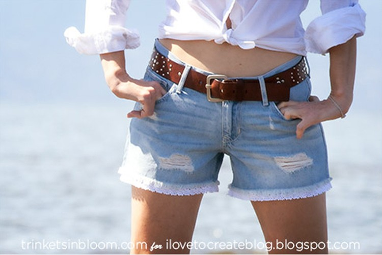 Lace Trim Shorts --- 24 DIYs to help you get ready for Summer Vacation.