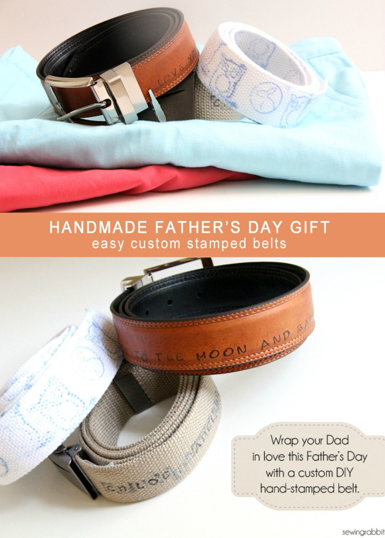 Handmade Fathers Day Gift Idea, Hand stamped Belts. Easy kids craft to make for Dads