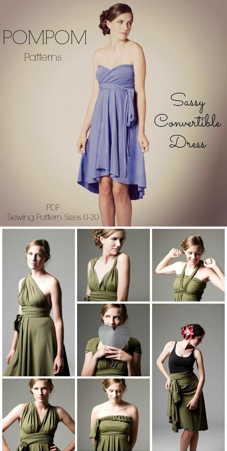 Sassy Convertible Dress, Pom Pom Patterns. 7 Dress Patterns for Summer.