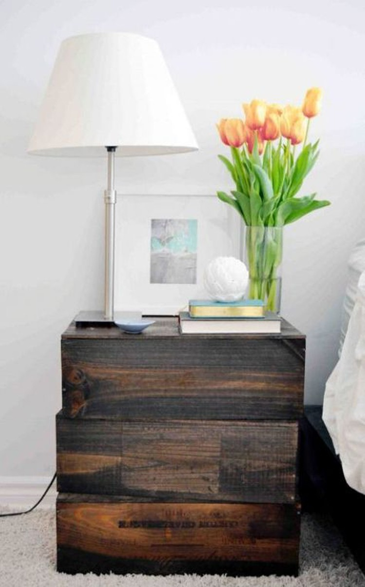 DIY Rustic Nightstand Of Old Wine Boxes