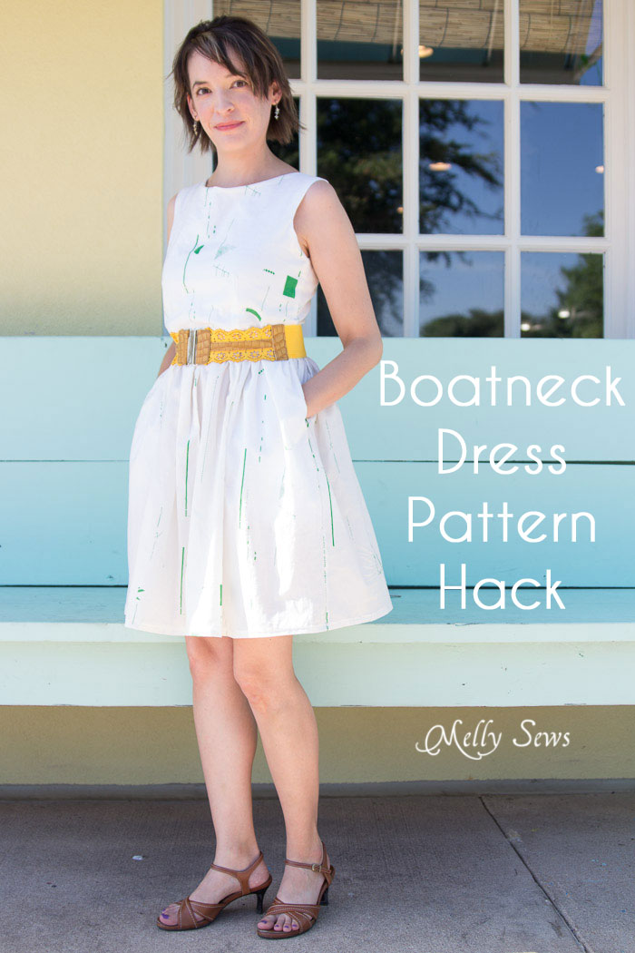 Boatneck dress pattern hack