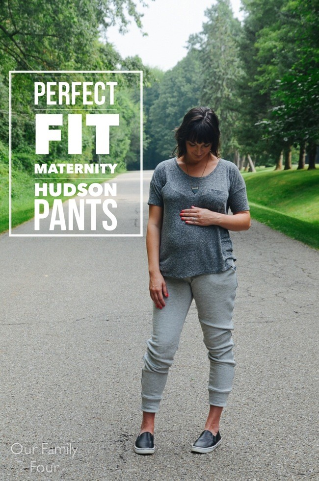 How to make hudson pants maternity friendly  || maternity pants DIY  || our family four