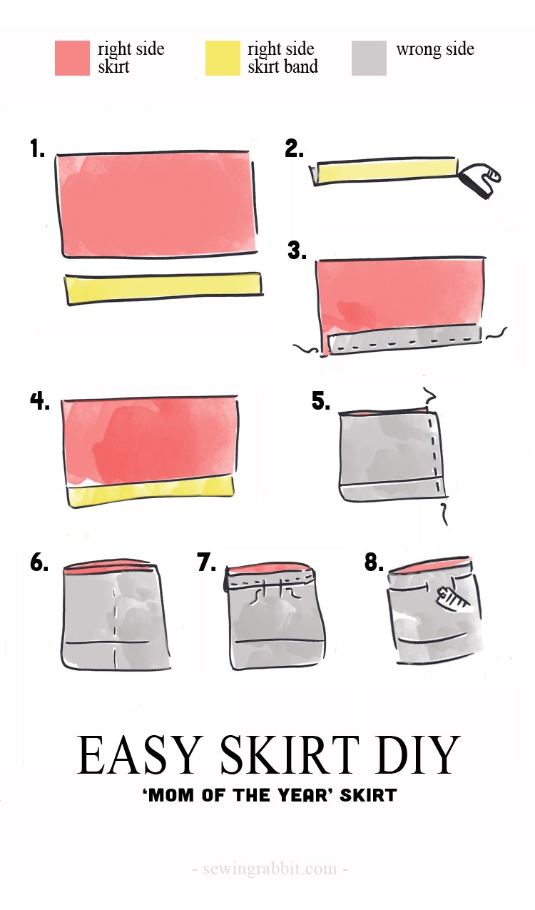 how to sew a super easy elastic waist skirt  ||  Mom of the year skirt DIY