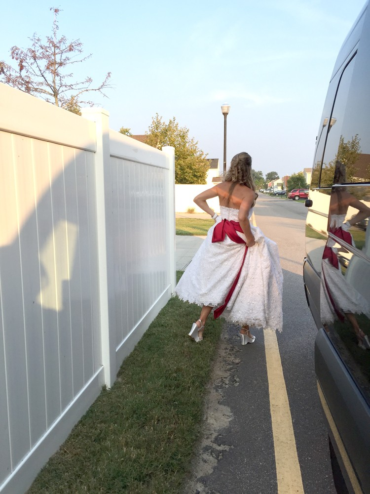 The night we went out in our wedding dresses    10 years after we got married.