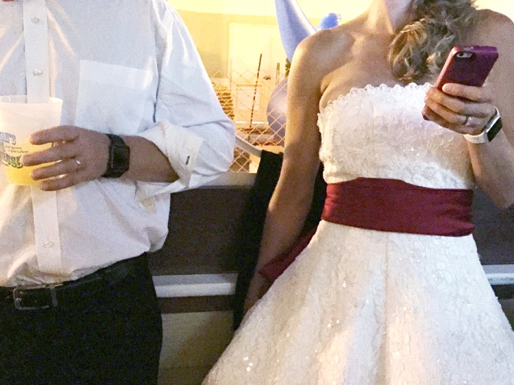 The night we went out in our wedding dresses