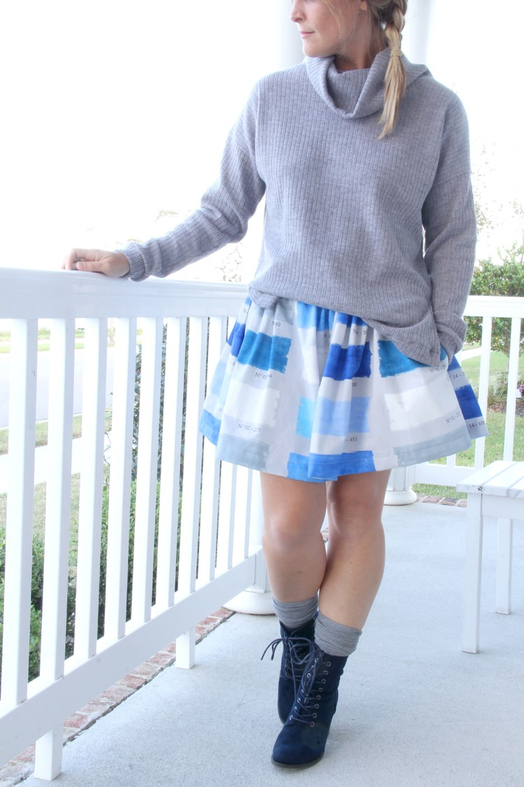 Make this Look: Turtleneck Sweater with side vent and easy elastic waist gathered skirt DIY