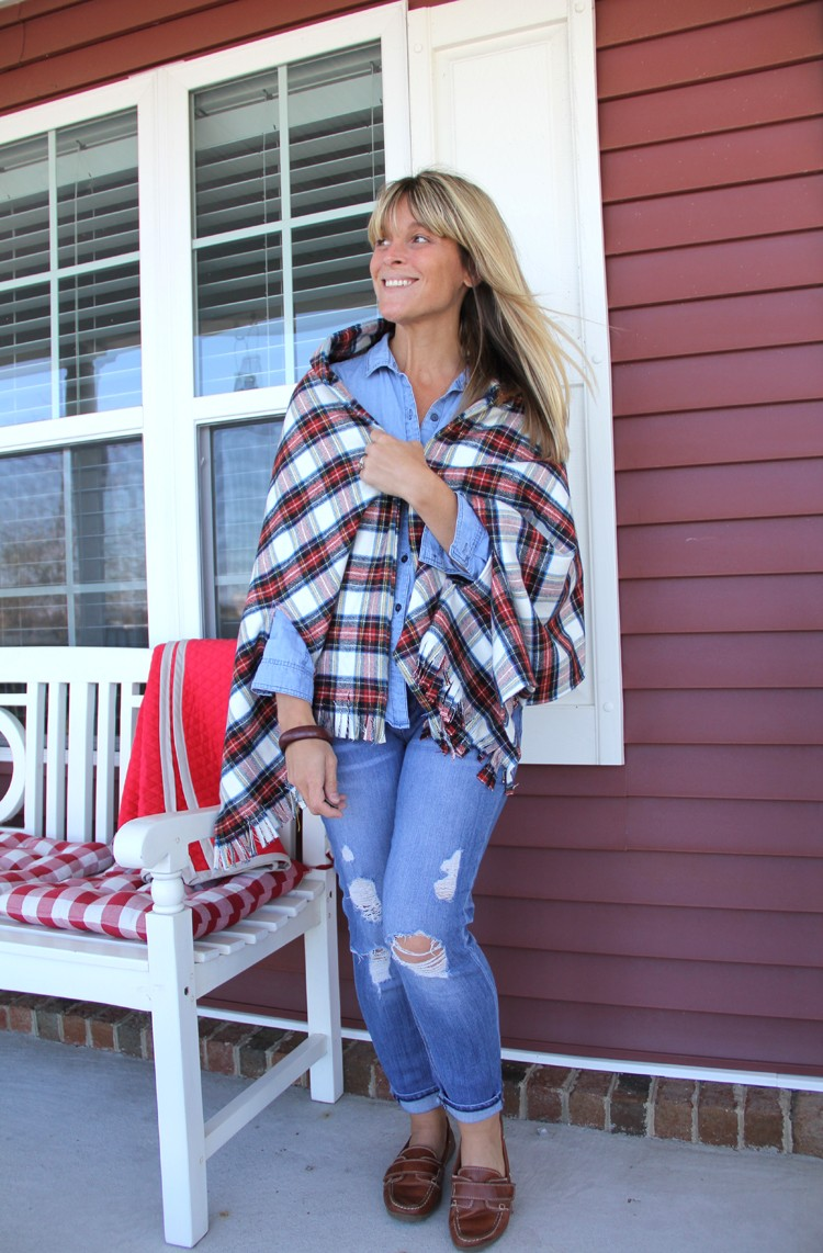 easy flannel women's scarf DIY