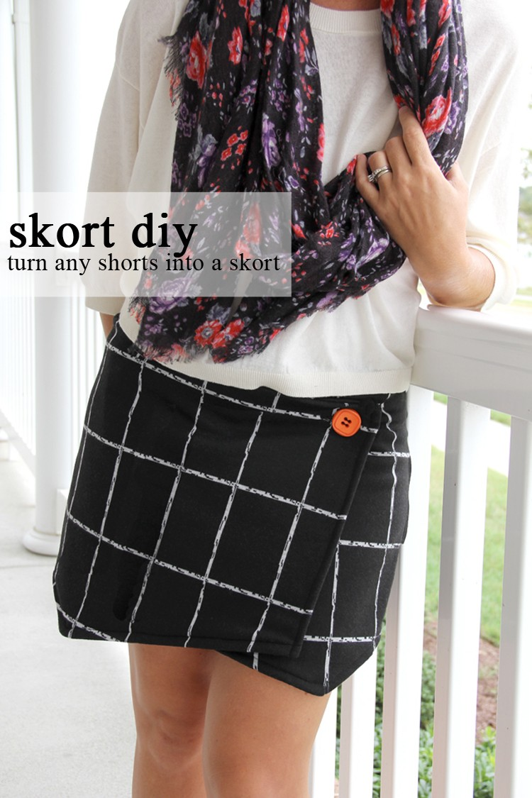 How to sew an asymmetrical wrap skirt  ||  How to turn any pair of shorts into a skort