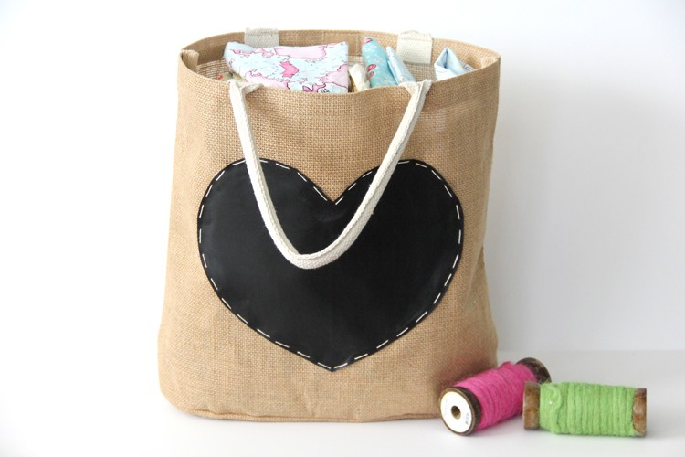 21 Days of Thanks  ||  Chalkboard Tote filled with Fabric
