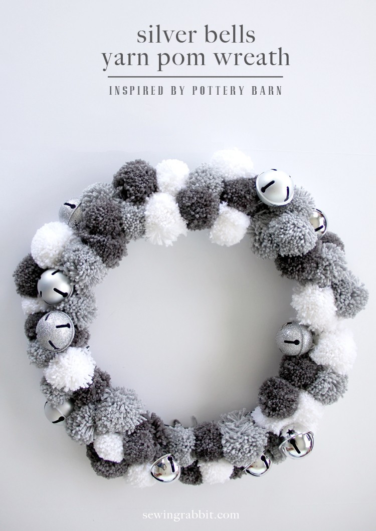 silver bells yarn pom wreath DIY, inspired by Pottery Barn