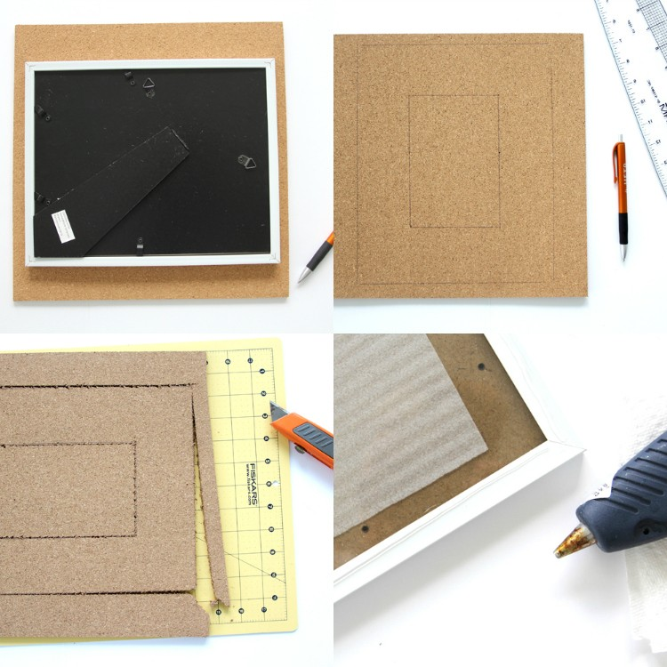 how to make a cork board picture frame